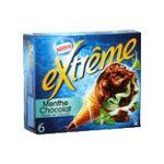 Extrême -  extreme glace individuelle boite carton menthe feuillete chocolat  6ct pepites de chocolat cone de creme glacee non enrobe meuble surgele  3033210003643