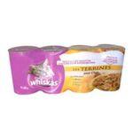 Whiskas -  nourriture pour chat boite de conserve poulet ou lapin ou boeuf ou thon  4ct tous chats terrine  3065890001060