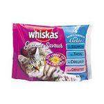 Whiskas -  nourriture pour chat pochon cabillaud ou thon ou saumon ou crevette  4ct tous chats emince en gelee  3065890027978