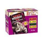 Whiskas -  nourriture pour chat pochon canard ou poulet ou dinde ou volaille  12ct tous chats bouchee en sauce  3065890035270