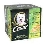 César -  nourriture pour chien barquette aluminium poulet ou canard ou dinde  3ct tous chiens patee  3065890036444