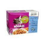 Whiskas -  nourriture pour chat pochon cabillaud ou thon ou saumon ou crevette  12ct tous chats emince en gelee  3065890071582