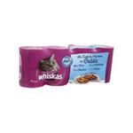 Whiskas -  nourriture pour chat boite tir'vite truite ou thon ou saumon ou cabillaud  4ct chat adulte bouchee en gelee  3065890073616