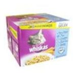 Whiskas -  nourriture pour chat pochon cabillaud ou thon ou saumon ou crevette  24ct tous chats emince en gelee  3065890099883