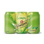 Schweppes -  lemon soft drinks gazeux boite metal citron standard  6ct pas de cafeine boisson aux fruits gazeuse etagere  3124480002150