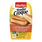 Herta -  tendre croque croque monsieur pain de campagne jambon fume et fromage 2 parts standard barquette plastique  3154230001492