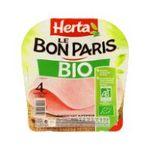 Herta -  le bon paris jambon cuit porc qualite superieur decouenne degraisse 4 t biologique ab standard  3154230016496