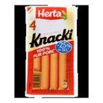 Herta -  knacki saucisse pate fine skin nature teneur en sel reduite x 4 knacki standard standard meuble refrigere  3154230045816