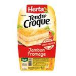 Herta -  tendre croque croque monsieur pain de mie sans croute jambon et fromage 2 parts standard barquette plastique  3154230050292