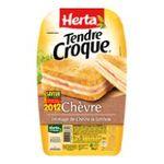 Herta -  tendre croque croque monsieur pain de mie chevre et jambon 2 parts standard barquette plastique  3154230082927