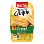 Herta -  tendre croque croque monsieur pain de mie jambon et comte 2 parts standard barquette plastique  3154230088547