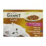 Gourmet -   gourmet gold nourriture pour chat boite tir'vite boeuf et poulet ou poisson ou lapin et foie ou canard et dinde  12ct tous chats emince et bouche  3222270493901