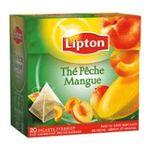 Lipton -  the noir sachets individuels dans boite carton peche et mangue 20 sachets sachet pyramide  3228881011053