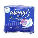 Always - S.10 S.ALWAYS ULTRA NUIT |  ultra serviettes sanitaires sac non parfume 10ctavec ailette ultra mince nuit serviette hygienique  4015400524236