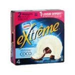 Extrême - GERVAIS |  extreme glace individuelle boite carton coco  4ct coeur chocolat type mystere/suspens noix de coco rapee meuble surgele  7613031326341