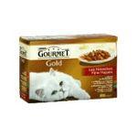 Gourmet -  L.12 GOURMET GOLD NOISETTE |  gourmet gold nourriture pour chat boite de conserve boeuf ou dinde et canard ou saumon et poulet ou poulet et foie  12ct tous chats bouchee en sauc-e 7613032955748