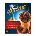 Extrême - GERVAIS |  extreme glace individuelle boite carton chocolat et brownie  4ct brownie et sauce chocolat cone a l'americaine non enrobe meuble surgele  7613033114250