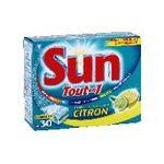 Sun - SUN TOUT EN UN X 30 DOSES CLEAN BOOST CITRON    tout en 1 hydrofilm pdt lavage/sel regen/liqd rinc/protec vaisselle paquet carton citron concentre tablette / dose  8718114380544