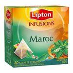 Lipton - ETUI.20 SACHETS INFUSION MAROC LIPTON    infusion sachets individuels dans boite carton menthe et epice 20 sachets maroc sachet pyramide  8722700004219